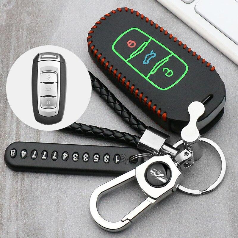 Светящийся кожаный чехол для дистанционного ключа для Geely Atlas Boyue NL3 EX7 Emgrand X7 EmgrarandX7 SUV GT GC9 borui автомобильный чехол для дистанционного ключа