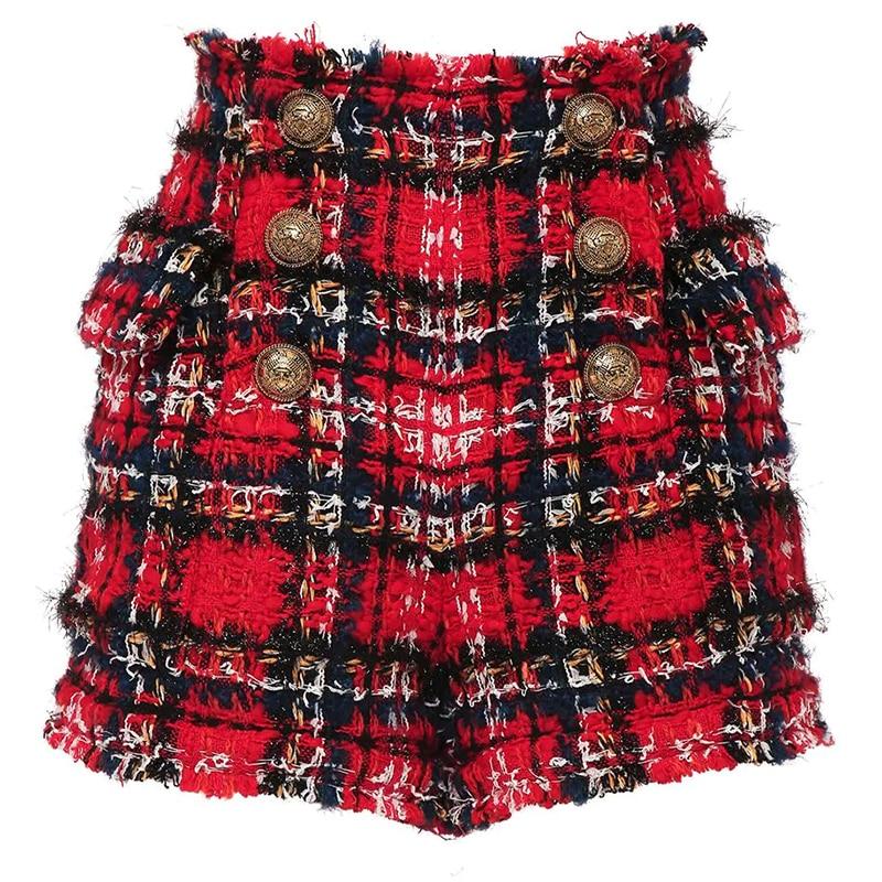 HIGH STREET Newest 2021 Designer Shorts Women's Fringed Tassel Plaid Tweed Shorts