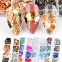 nail shell sequins colorful thin irregular abalone broken patch nail ornament nail gel polish polyge nail kit lba001