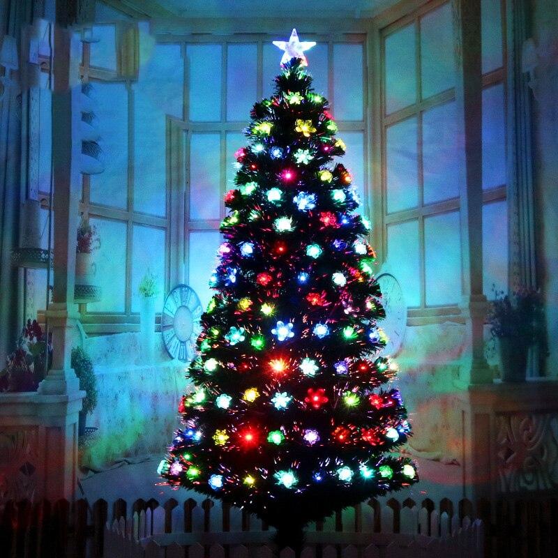 شجرة عيد الميلاد من الألياف البصرية الفاخرة ، مصباح LED على شكل زهرة ، زخرفة مضيئة ملونة ، شجرة اصطناعية لعيد الميلاد المجيد ، هدية زينة