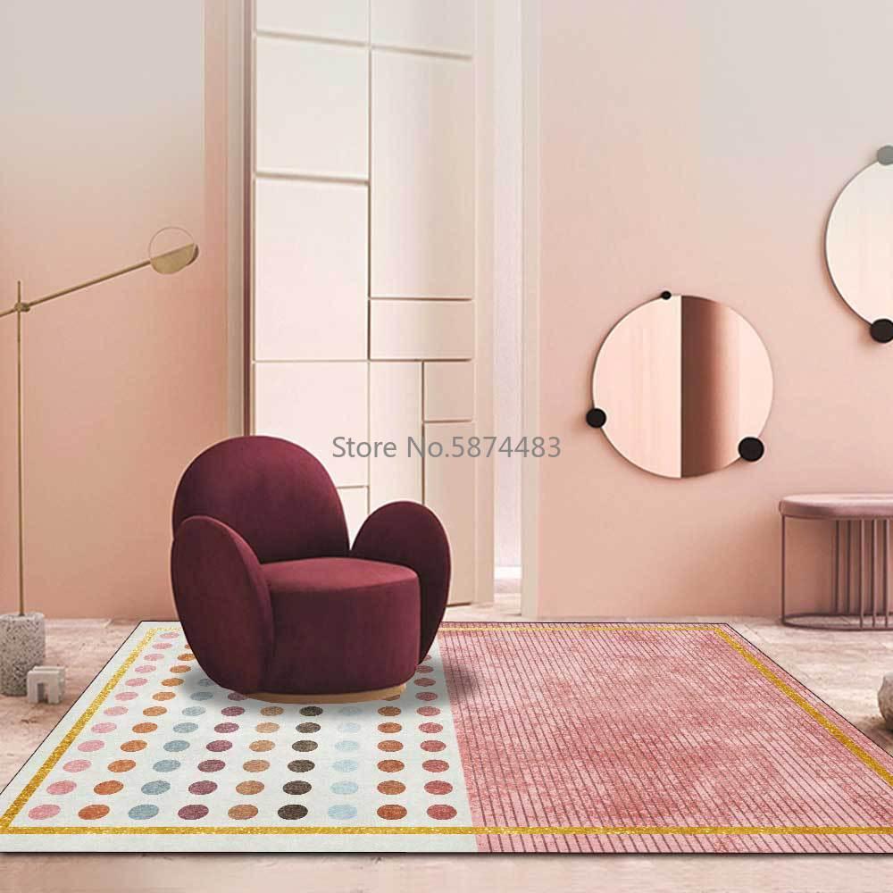 200*300 سنتيمتر الحديثة ضوء الفاخرة الذهب إطار رمادي الوردي النقاط فتاة غرفة المعيشة غرفة نوم السرير السجاد الطابق حصيرة التخصيص