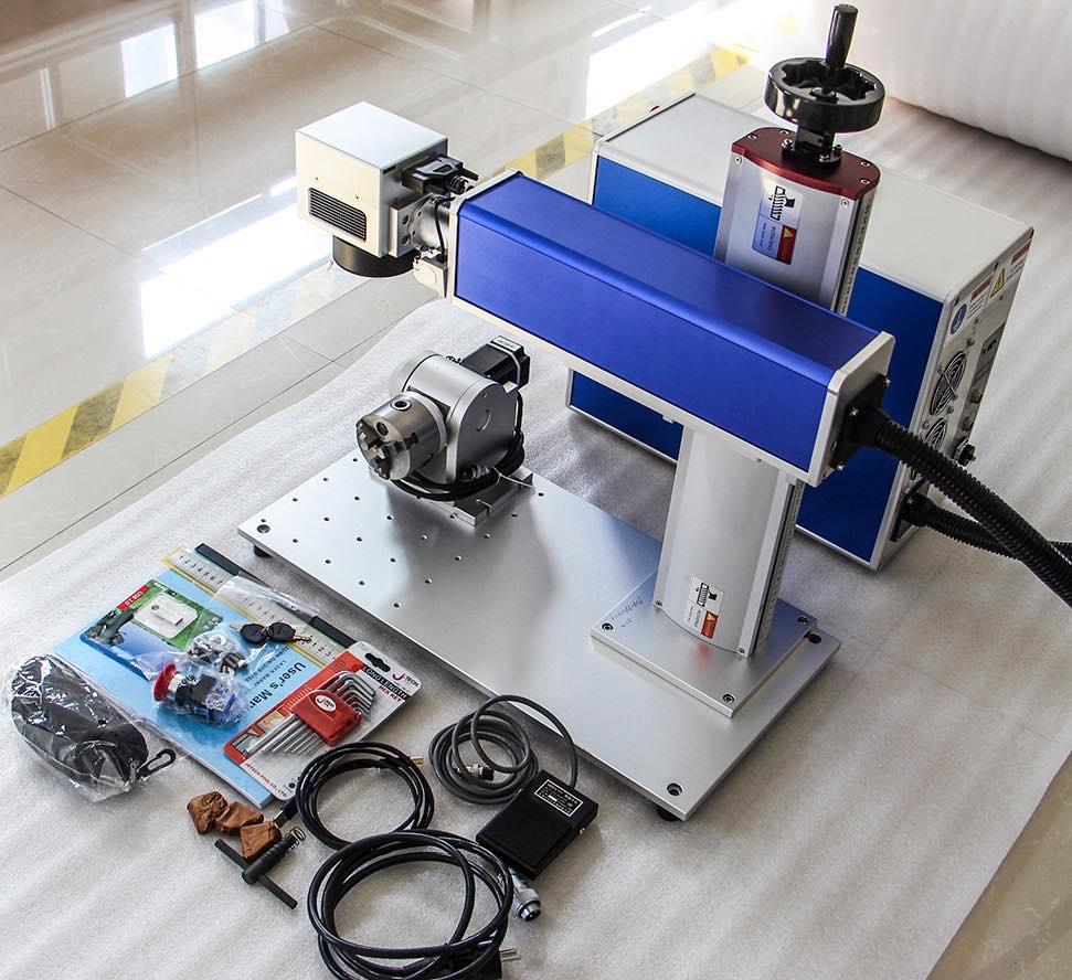 Raycus rotary laser marking machineJPT 50W fiber laser marking machine with auto foucs laser engraving machine and rotary tools