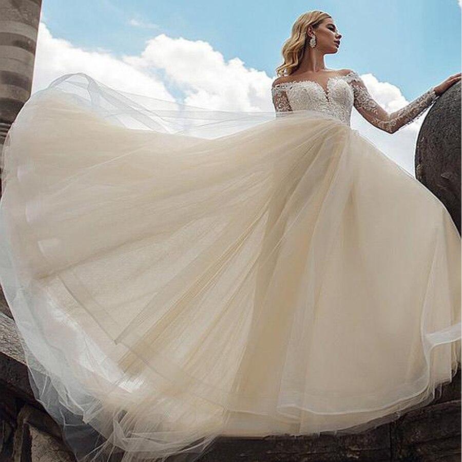 Vestidos de novia de tul con escote en forma de A, manga larga, champán