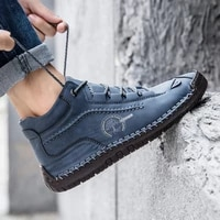 2020 men shoes autumn non slip comfy ankle boots hand stitching casual men loafers soft sole breathable flats shoes female boots