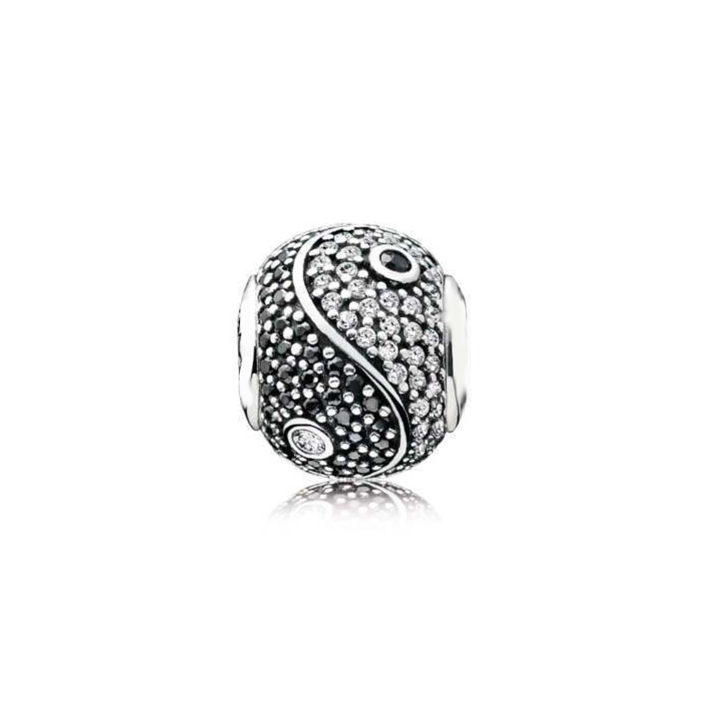 Real 925 prata esterlina talão equilibrado yin e yang charme ajuste moda feminina pandora essência pulseira presente jóias diy
