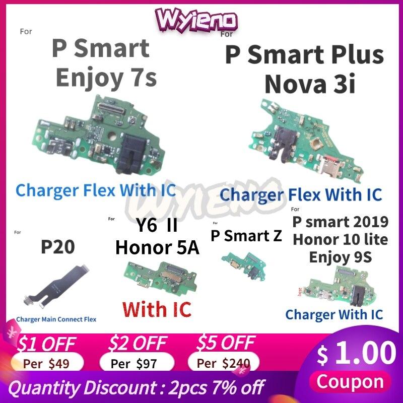 Wyieno para huawei p smart 2019 plus z desfrutar 7s p20 y6 ii Y6-2 v9 jogar porta carregador usb doca de carregamento cabo flexível placa microfone