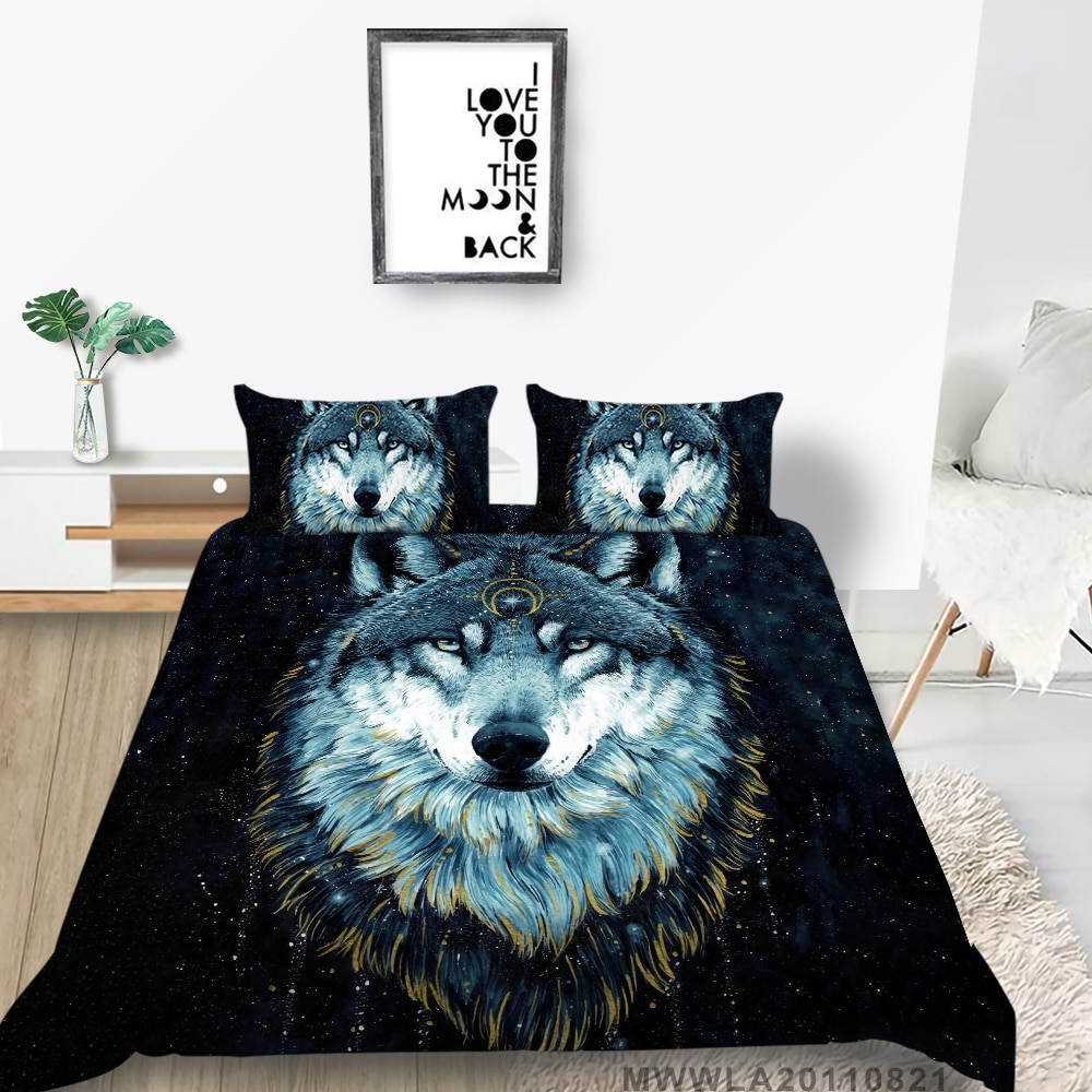 King Size Bedding Set Wolf God Mysterious Duvet Cover Galaxy Queen Double Twin Full Single Artistic Bed Set 3D Print galaxy print full over bed sheet set