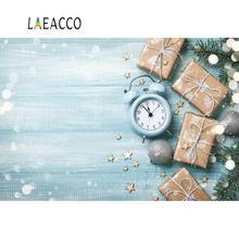 Laeacco tablero de madera festivales de Navidad reloj de regalo Bola de pino Polka Dot muñeca mascota retrato foto fondos fotografía telón de fondo