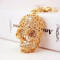 fashion and popular diamond studded crystal skull car keychain metal pendant mens key chain small gifts