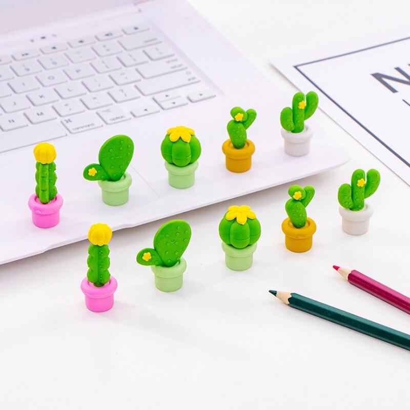 5 unids/pack Kawaii creativo Cactus borrador para niños regalo papelería novedad artículo creativo lindo borrador juegos
