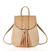 New PP Small Straw Woven Backpack for Women Girls Casual Travel Bag Purses Tassel Bucket Bags Drawst