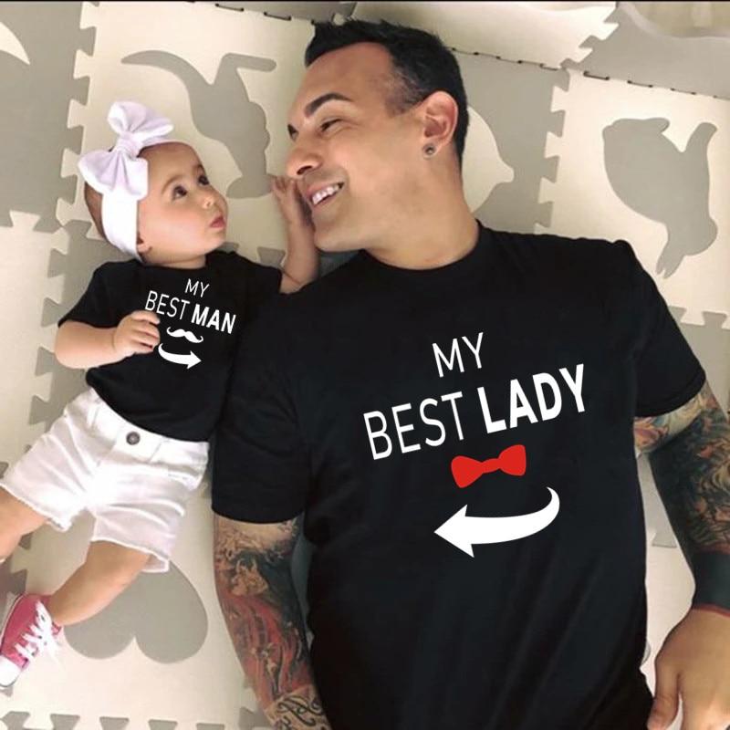 My Best Lady/homme famille correspondant vêtements papa enfants T-shirt bébé body famille Look père fille vêtements fête des pères cadeau