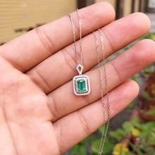 AEAW bijoux 18K or blanc 0.5ct naturel émeraude collier coussin coupe vert pierres précieuses collier femmes bijoux