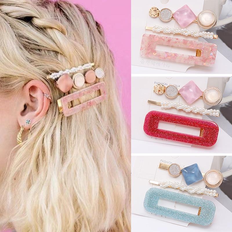 2020 nova pérola do vintage grampo de cabelo para as mulheres meninas elegante mármore redondo retângulo geométrico barrette hairpin acessórios para o cabelo