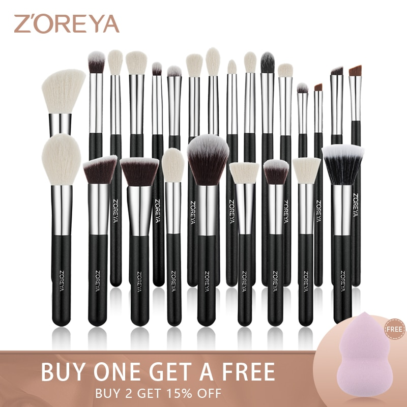 Zoreya 8-25pcs Black Makeup Brushes Set Kit Eye Shadow Foundation Powder Blushes Brush Concealer Contour Blending Classic