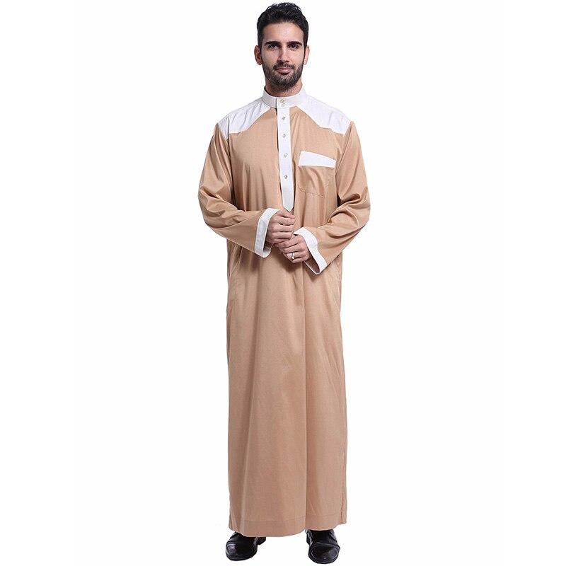 Saudi Arabia Religious Men's Fashion Robe Muslim Long Sleeve Pocket Buttons Cardigan Ramadan Long Skirt Islamic Men's Dress