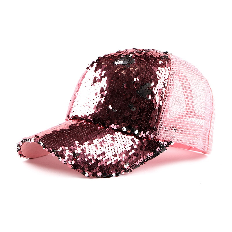 Fashion Sequined Mesh Visors Caps Womens New Baseball Cap Summer Breathable Sunscreen Hip-Hop Hat