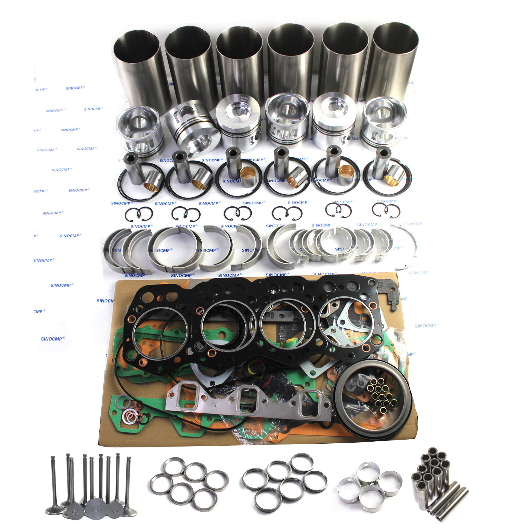SA6D107E Overhaul Rebuild Kit for Komatsu Engine PC200-8 Excavator Repair Parts Pistons, Liners, Ring set, Bearing Sets