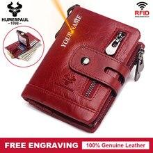 Free Engraving Leather Women Wallet Fashion Coin Purse Small Mini Card Holder Chain PORTFOLIO Portomonee Male Short Walet Pocket