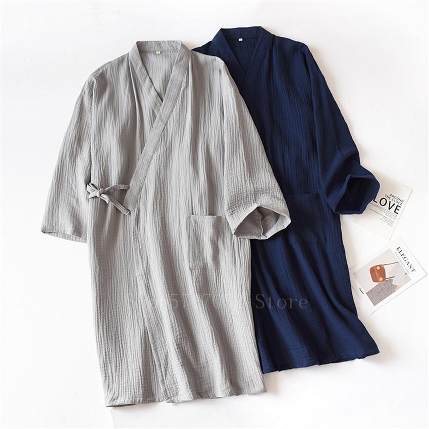 القطن ثوب الكيمونو الياباني الرجال منامة التقليدية Haori للجنسين Jinbei امرأة يوكاتا ثوب النوم اليابان الملابس فضفاضة سترة
