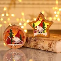 christmas lights forest old man wooden luminous pendant christmas tree ornaments round five pointed star holiday night lights