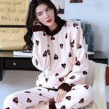 H5992 Cute Girl Pajamas Set Thick Flannel Long Sleeve Warm Sleepwear Women Korean Home Clothing Coral Velvet Winter Nightgown