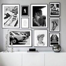 Affiche de photographie célèbre personne   Étoile de film, toile, peinture murale noire blanche, image dart pour salon, impression décorative moderne