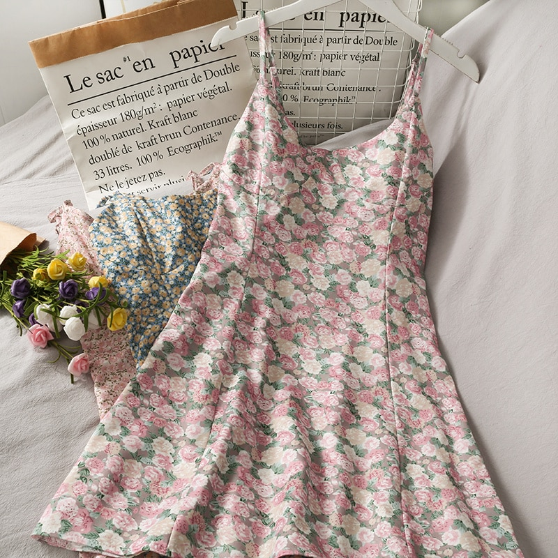 Retro Printed Sweet Style Mid-Length Beauty Back Suspender Dress for Women 2021 Summer Floral High W