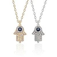 hip hop gothic blue evil eye hamsa handmade tima palm necklace women mens gold rhinestone pendant necklace gift necklaces
