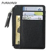 PURDORED 1 Pc RFID Blocking Men Card Holder PU Leather Zipper Slim Wallet Coin Purse Credit Card Holder Credit Card Wallet