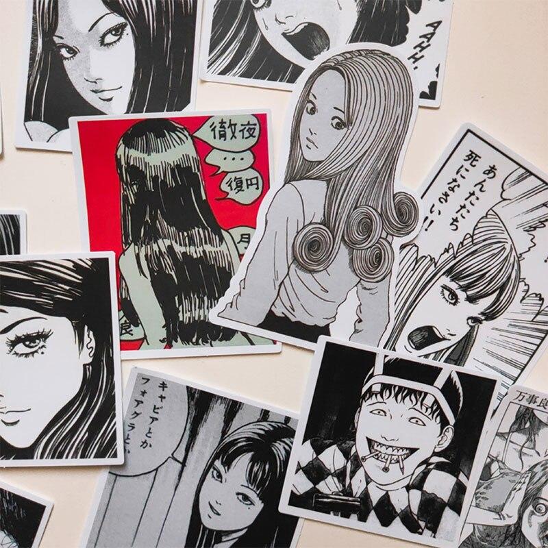 12 unids/bolsa negra blanca pegatina de cómic Horrible japonesa DIY álbum de...