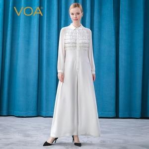 VOA Heavyweight Silk Pure White Small Lapel Raglan Long Sleeve Single Breasted Mesh Lace Splicing High Waist Jumpsuit KE260