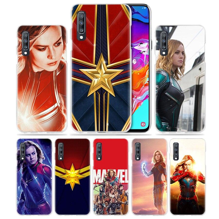 Funda de capitán Marvel para Samsung Galaxy A50, A70, A20, A90, 5G, A80, A60, A40, A30 S, A10, E, A8, A6 +, A9, A7 2018, funda rígida para teléfono