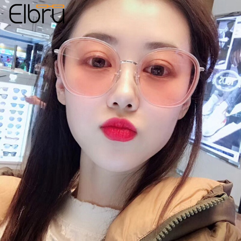 Elbru Vintage Round Sunglasses Brand Designer Fashion Sunshades Clear Colorful Eyewear For Women Sun