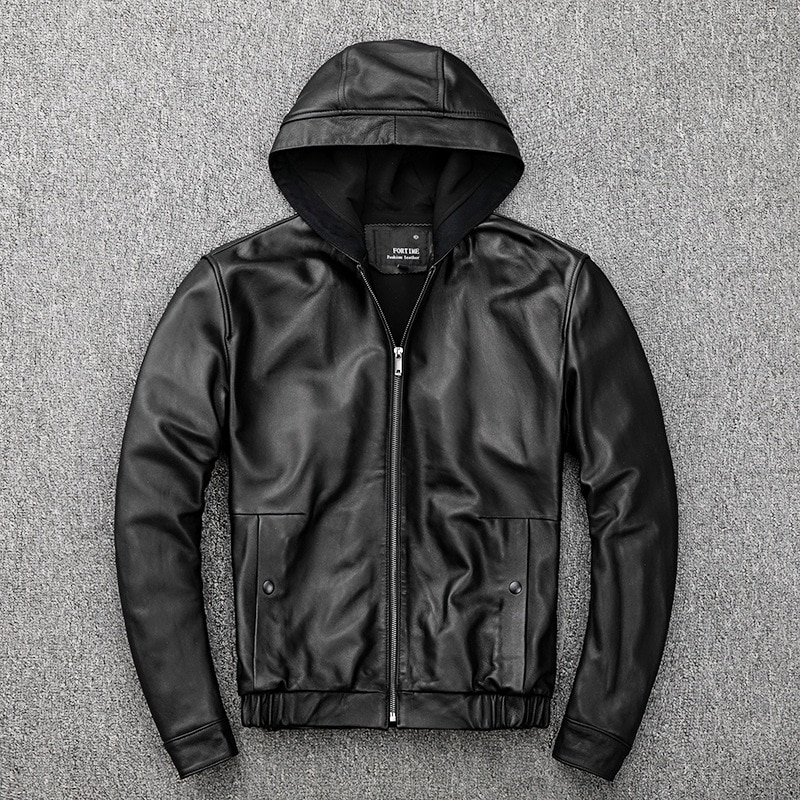 Демисезонные шикарные мужские повседневные Куртки из натуральной кожи с капюшоном C140