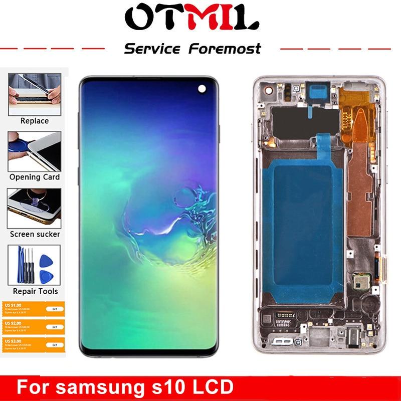 سوبر AMOLED لسامسونج غالاكسي S10 2019 SM-G9730 G973F LCD شاشة تعمل باللمس محول الأرقام لاستبدال شاشة سامسونج S10