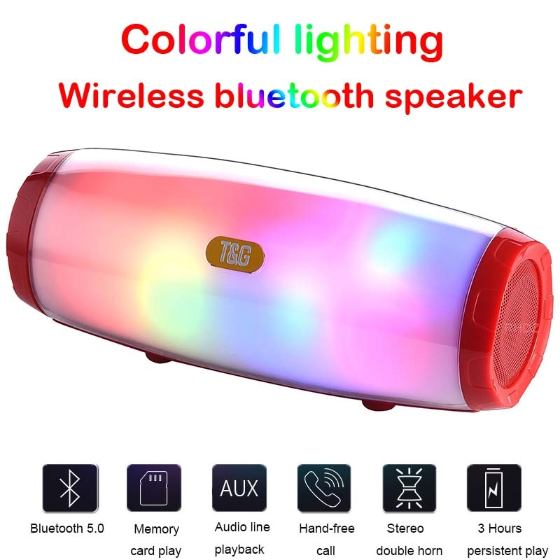 Altavoz Bluetooth portátil, barra de sonido LED de bajos de Mini columna, inalámbrica, impermeable, Boombox con MP3 AUX USB FM Radio Estéreo Subwoofer