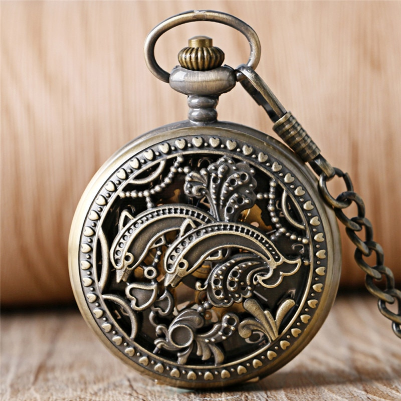 Bronze Hollow Out Dolphin Case Unisex Pocket Watch with Handwinding Mechanical Movement Arabic Numeral Dial Fob Pendant Chain