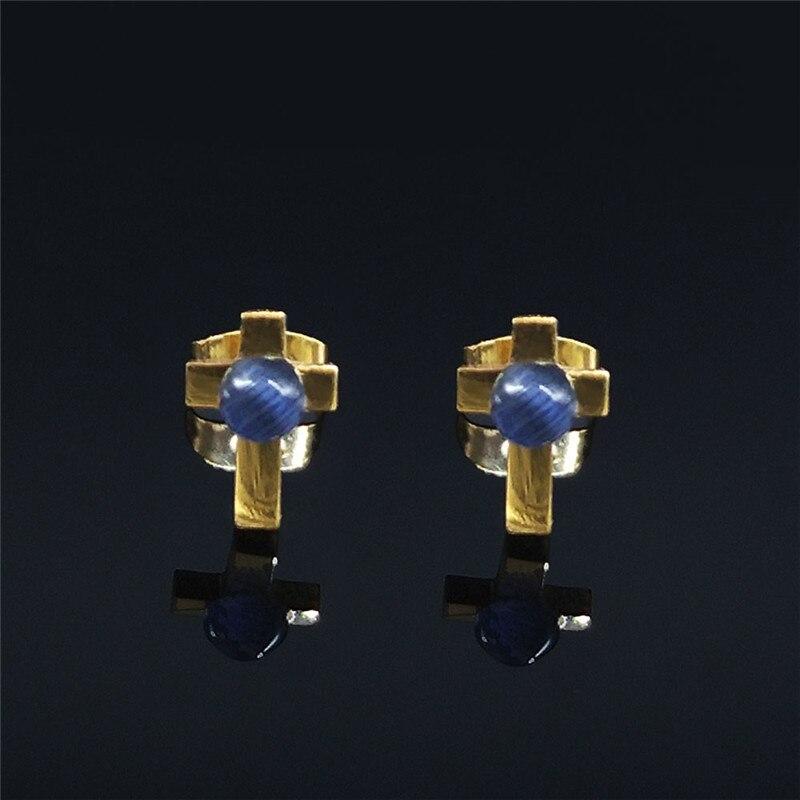 3 pares de cruz de ópalo azul pequeño de acero inoxidable pendientes...