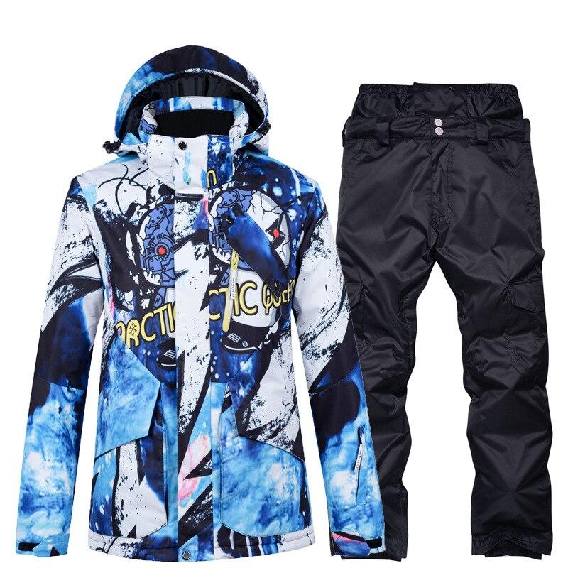 2020 New Fashion Ski Suit Sets For Men Winter Waterproof Ski Jacket Pants Windproof Skiing Snowboard Warm Coat Ski Snowsuit
