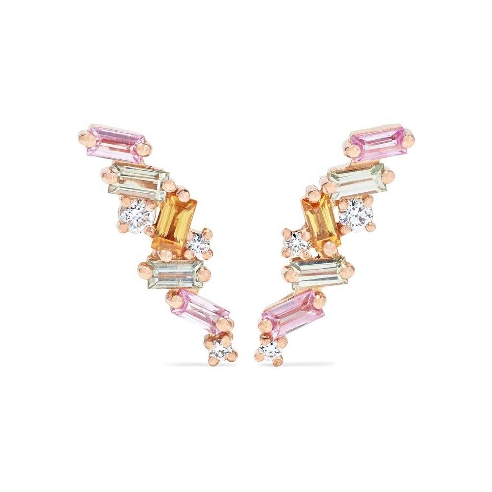 Lozrunve moda 925 prata redonda pedra colorida arco-íris baguette brinco brinco jóias fábrica atacado