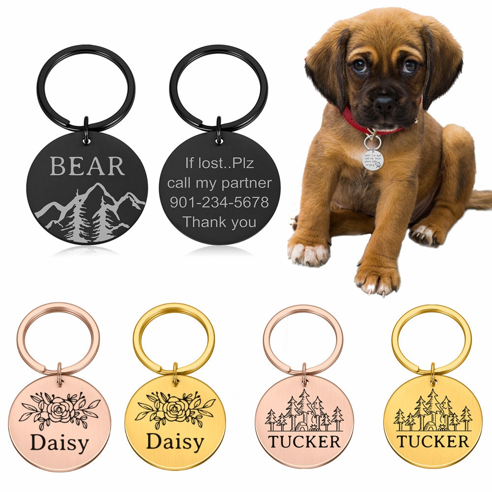 personalized pet id tag dog cat nameplate aluminum collar accessories free customized engraving tags Customized Name Address Tags Pet Dog Tags Cat Collar Accessories Decoration Pet ID Dog Tags Collars Stainless Steel Cat Tag