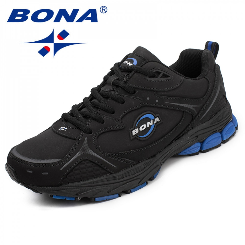 BONA New Classics Style Men Running Shoes Lace Up Sport Leather Outdoor Jogging Sneakers Comfortable free shipping