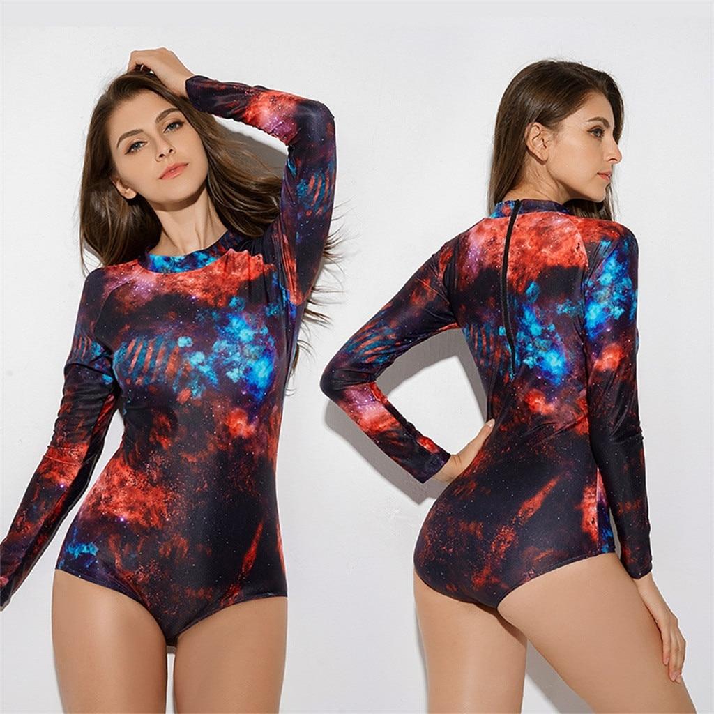 Traje de buceo para mujer, traje de baño de manga larga de lycra, mono de Surf con cielo estrellado, traje de baño de manga larga de una pieza para Surf, protector de sarpullidos
