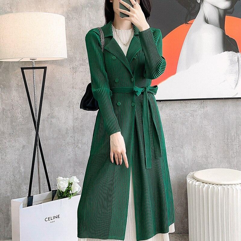 Женский двубортный Тренч miяка, плиссированные модные однотонные длинные пальто в стиле High Street с отложным воротником, весна-осень