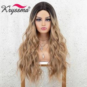 Kryssma Ombre Blonde Black Wigs Long Wavy Synthetic Wigs For Women Body Wave Cosplay Wigs Mixed Black Heat Resistant Fiber Hair