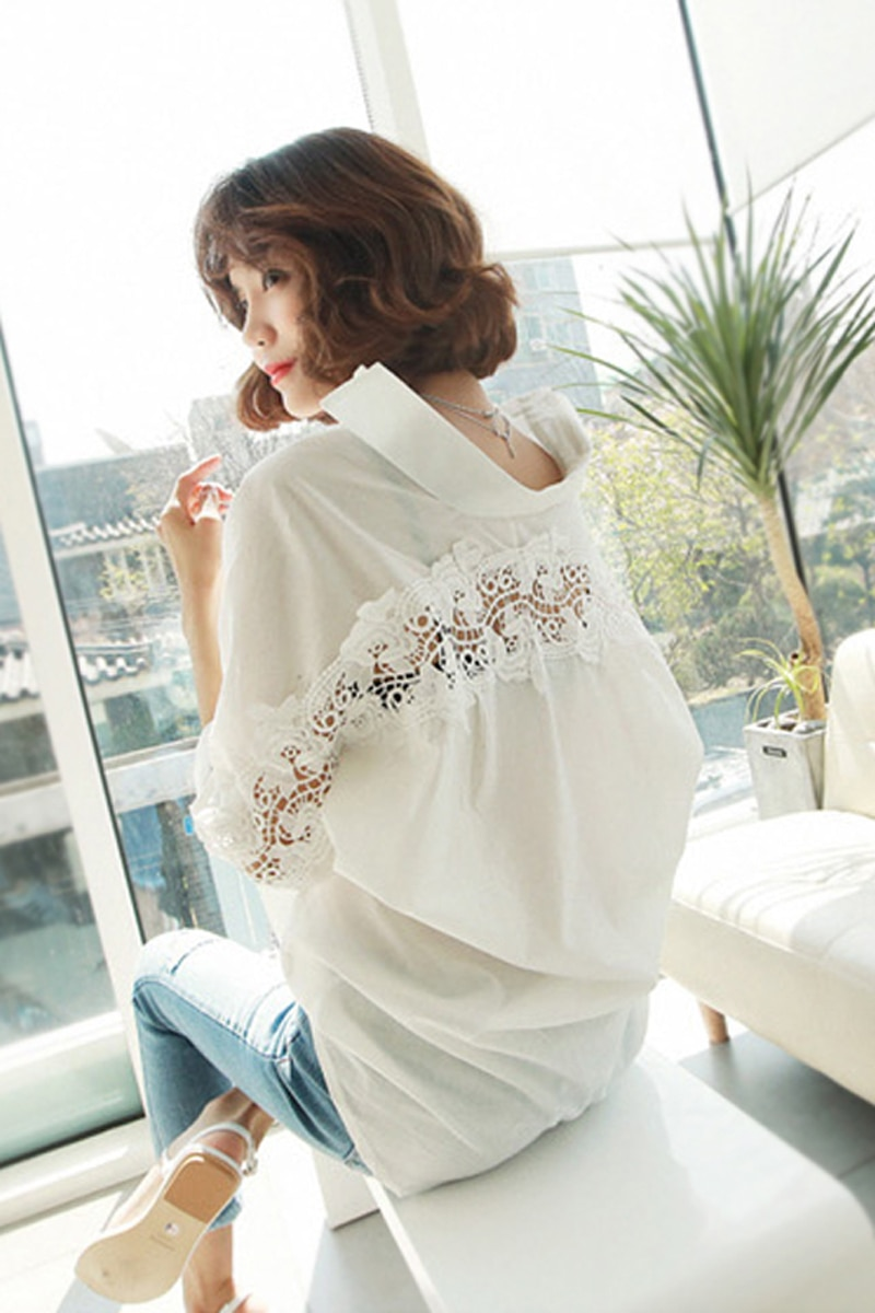 Fashion women tops Summer 2021 backless sexy carved lace Blouse Shirt Ladies casual Loose White office blouse female -CH37  - buy with discount