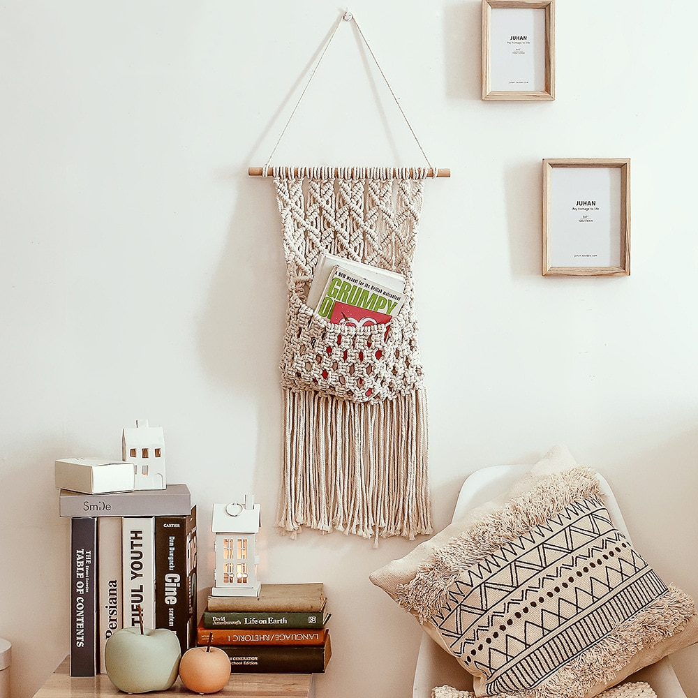 Weaving Tapestry Originality Novelty Storage Bag Study Decoration Handicraft Pendant Home Badroom Accessories for Living Room