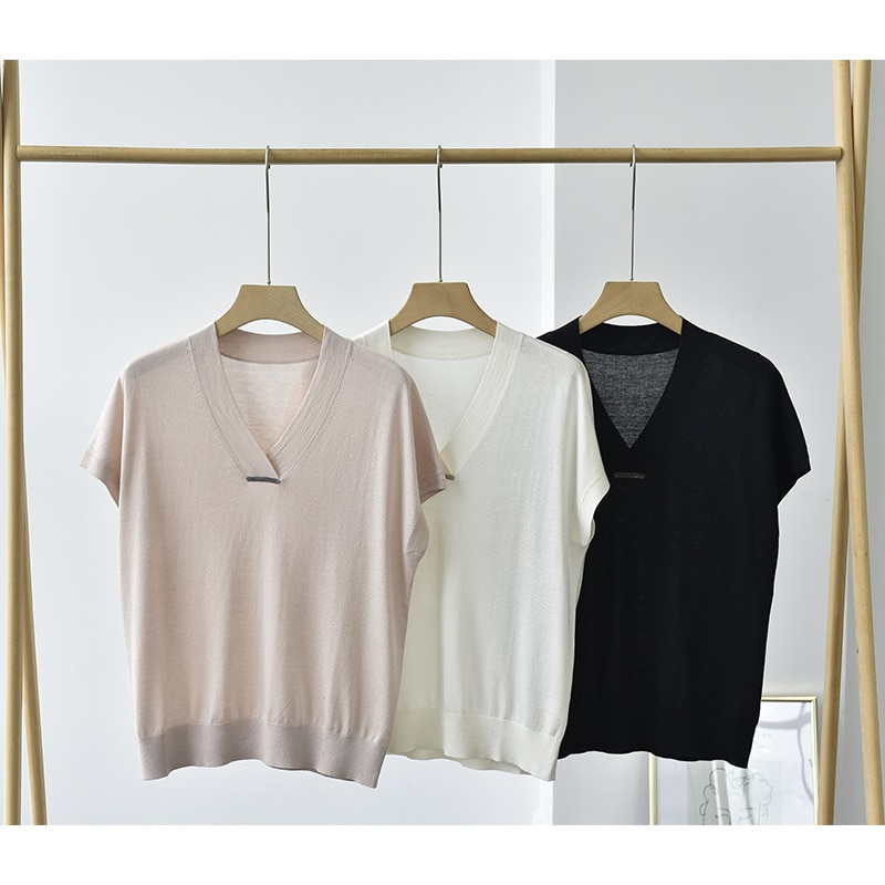 SHUCHAN 85% Silk +15% Cashmere Womens Sweaters  Office Lady  V-Neck  Solid  Thin Summer Knitted Cute Sweater enlarge