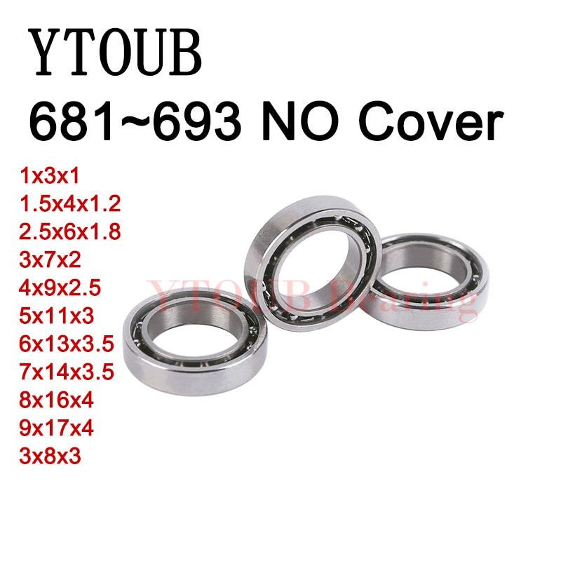 free-shipping-10pcs-681-681x-682x-683-684-685-686-687-688-689-693-no-cover-bearings-miniature-ball-bearing